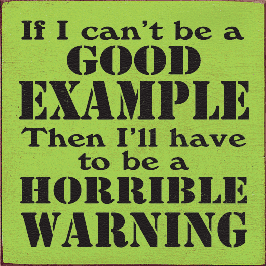 Funny Sign...If I Can't Be A Good Example Then I'll Have To Be A Horrible Warning