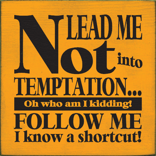 Funny Sign...Lead Me Not Into Temptation...Oh Who Am I Kidding! Follow Me