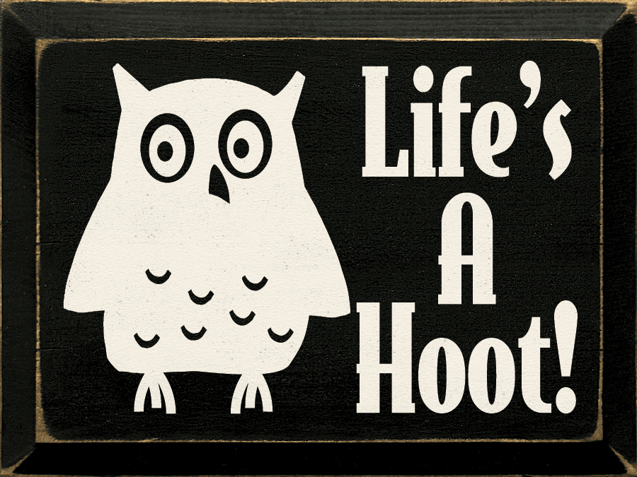 Funny Sign...Life's A Hoot! (With Owl Graphic)
