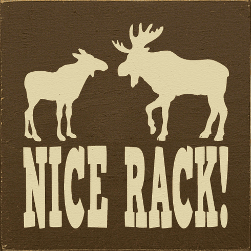 Funny Sign...Nice Rack! (Picture Of Moose)