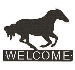 Galloping Horse Horizontal Welcome Sign