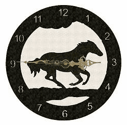 Galloping Horse Smooth Edge Rustic Clock