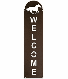 Galloping Horse Vertical Welcome Sign in 2 Sizes