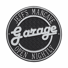 Garage Plaque Standard Wall Two Line Plaque in Black and Silver