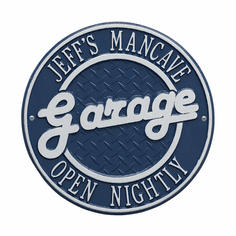 Garage Plaque Standard Wall Two Line Plaque in Dark Blue and Silver