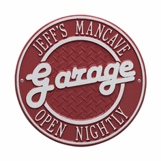Garage Plaque Standard Wall Two Line Plaque in Red and Silver
