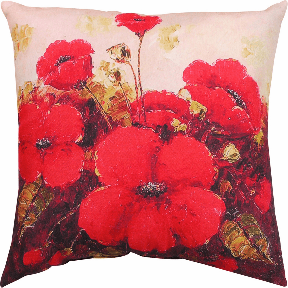 Garden Red Poppies Climaweave Pillow