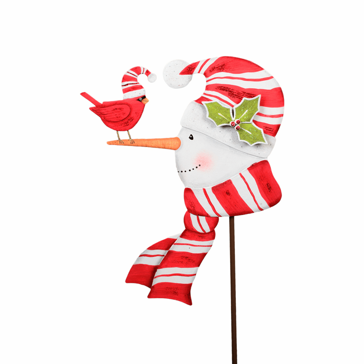 Garden Stake Snowman with Cardinal, large