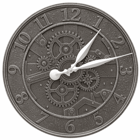 Gear 16 inches Indoor Outdoor Wall Clock - Aged Iron