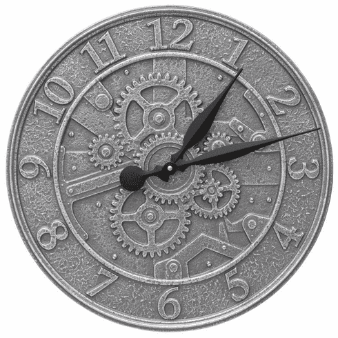 Gear 16 inches Indoor Outdoor Wall Clock - Pewter and Silver