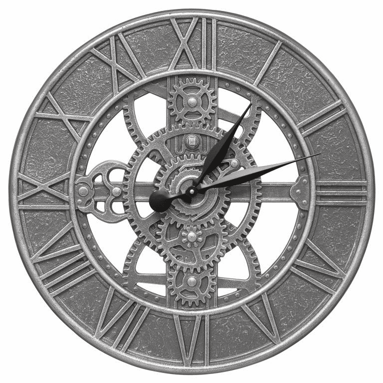Gear 21 inches Indoor Outdoor Wall Clock - Pewter and Silver