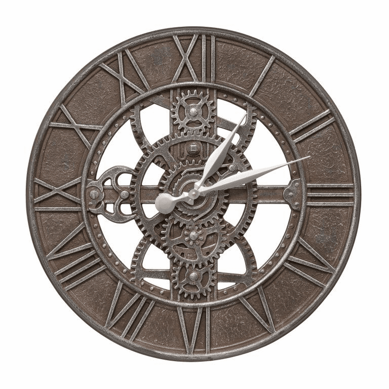 Gear 21 inches Indoor Outdoor Wall Clock - Weathered Iron