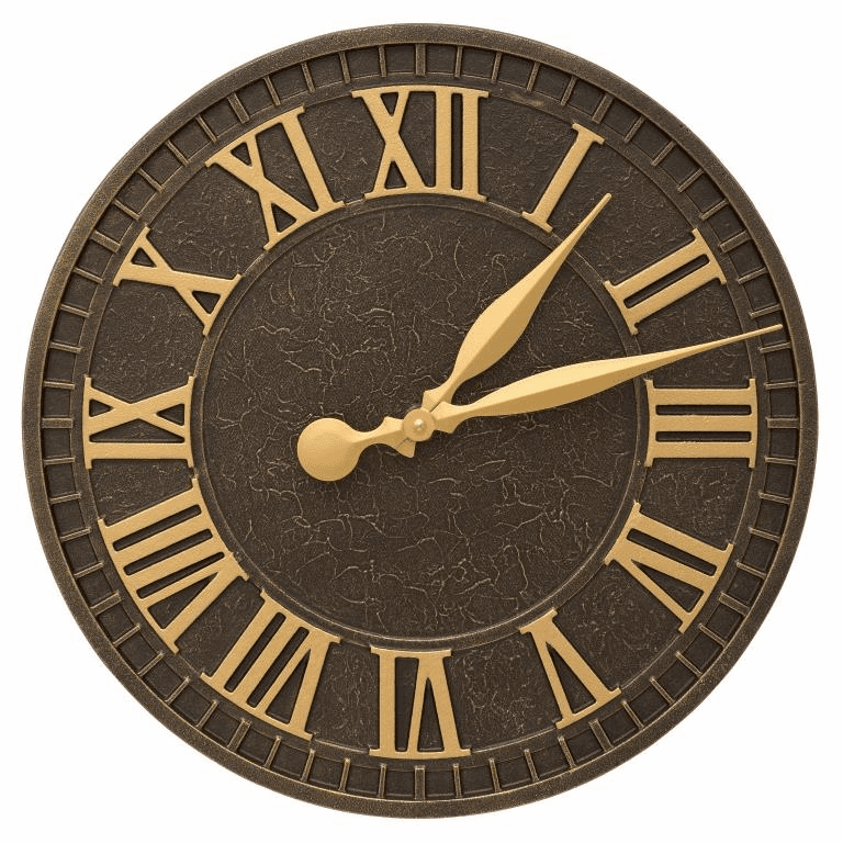 Geneva 16 inches Indoor Outdoor Wall Clock - Aged Bronze