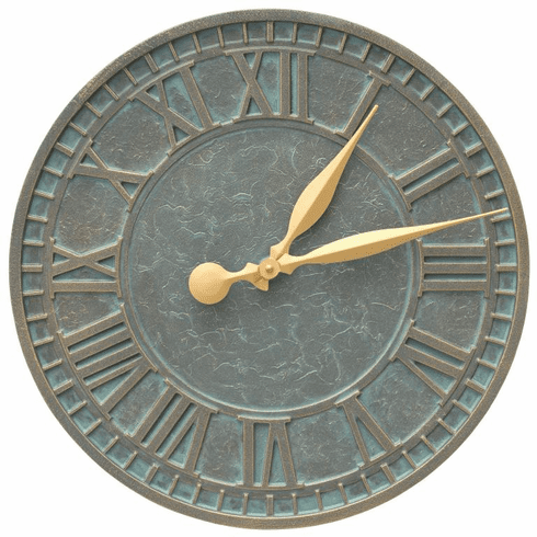 Geneva 16 inches Indoor Outdoor Wall Clock - Bronze Verdigris