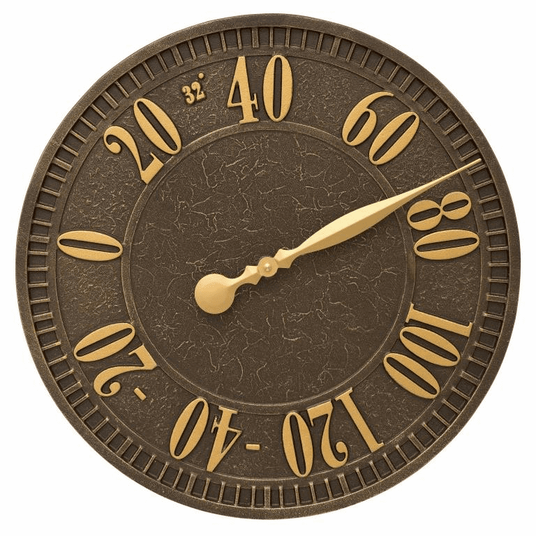 Geneva 16 inches Indoor Outdoor Wall Thermometer - Aged Bronze