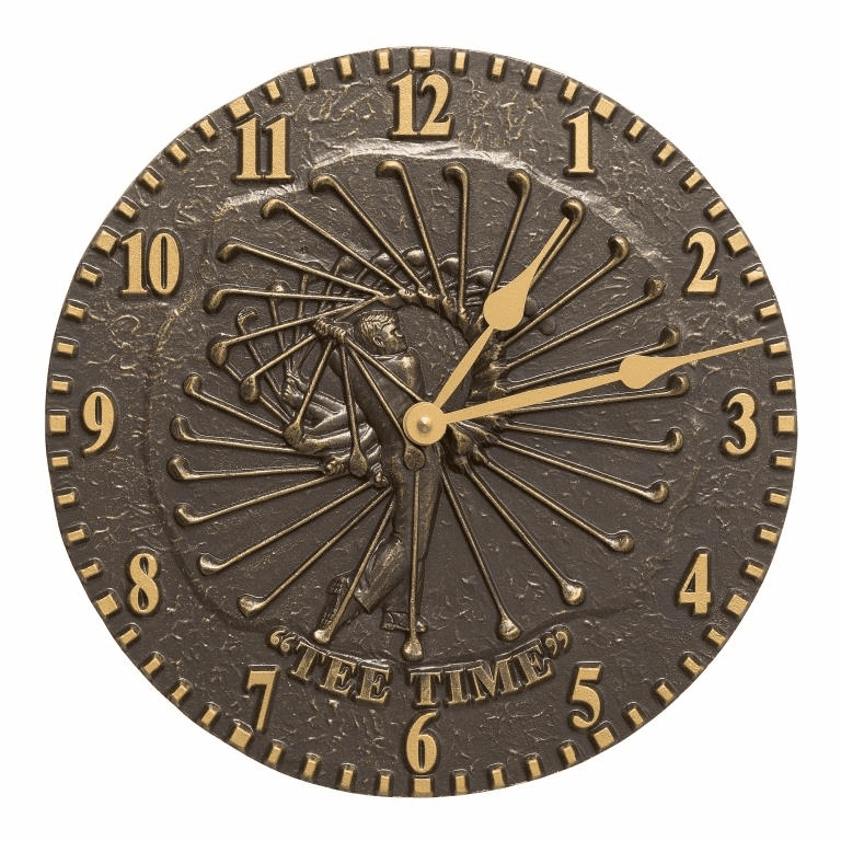 Golfer 12 inches Indoor Outdoor Wall Clock - French Bronze