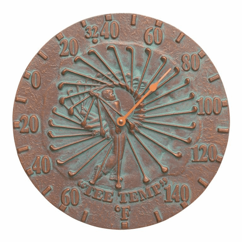 Golfer 12 inches Indoor Outdoor Wall Thermometer - Copper Verdigris
