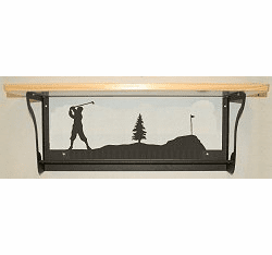 Golfer Rustic Towel Bar with Shelf