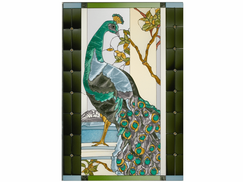 Gorgeous Peacock II Stained Glass Art Glass
