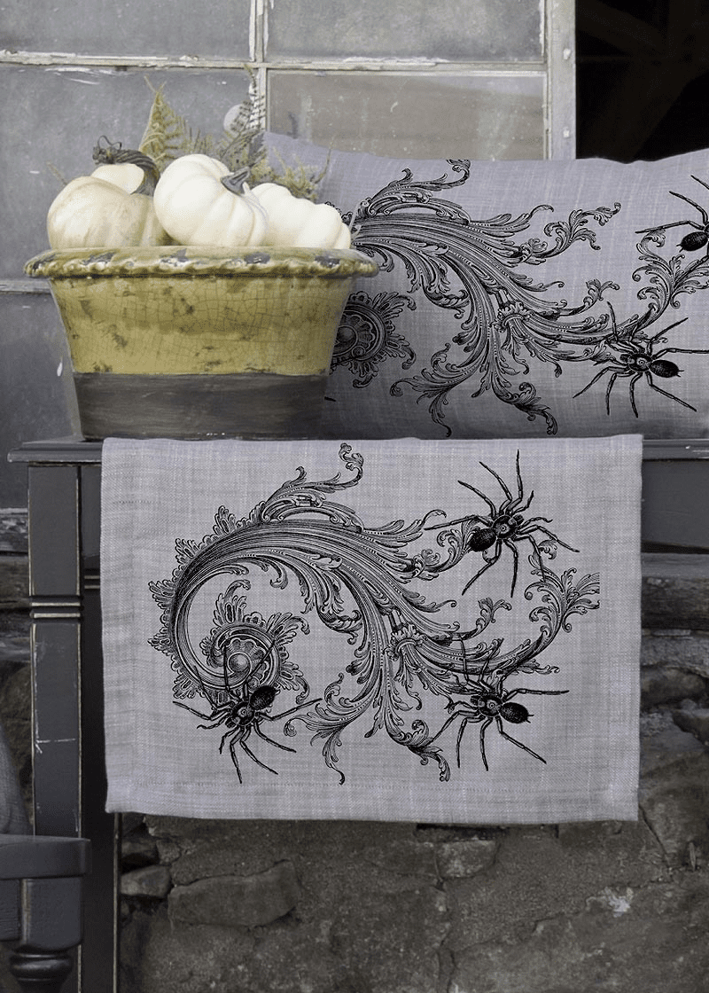 Gothic Spiders Halloween Large Table Runner