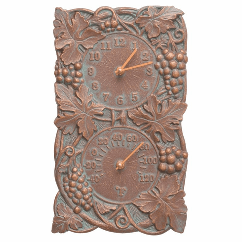 Grapevine Indoor Outdoor Wall Clock & Thermometer - Copper Verdigris