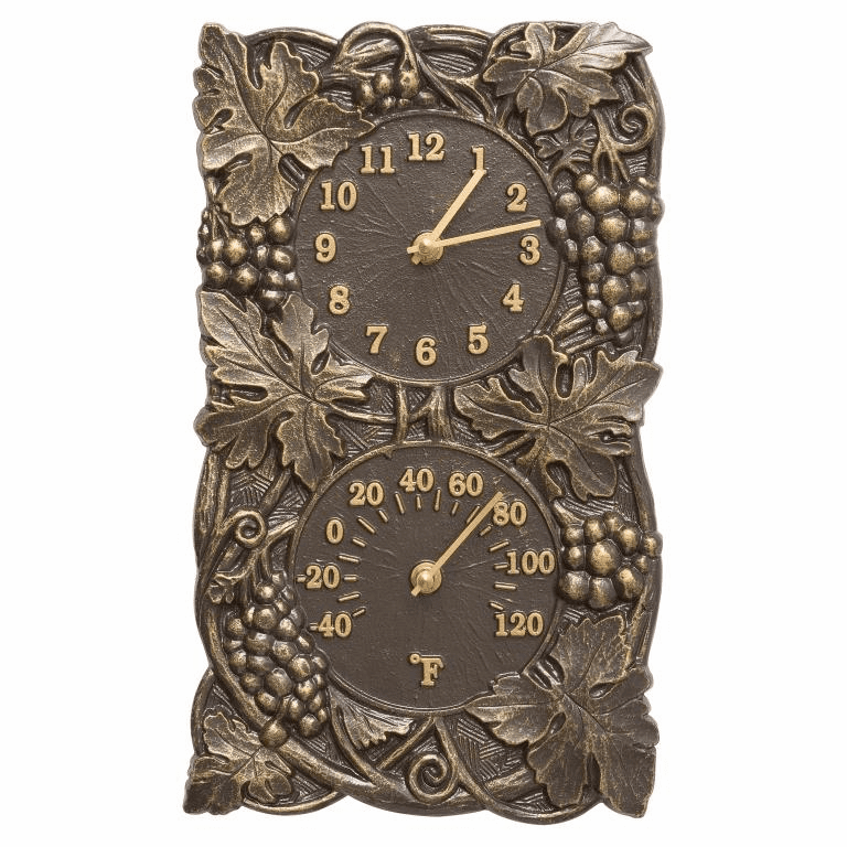 Grapevine Indoor Outdoor Wall Clock & Thermometer - French Bronze