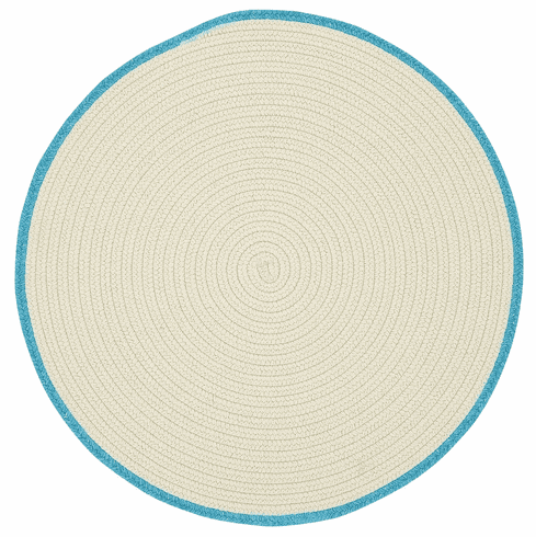 Hand-Braided Beige Topaz Blue Rug