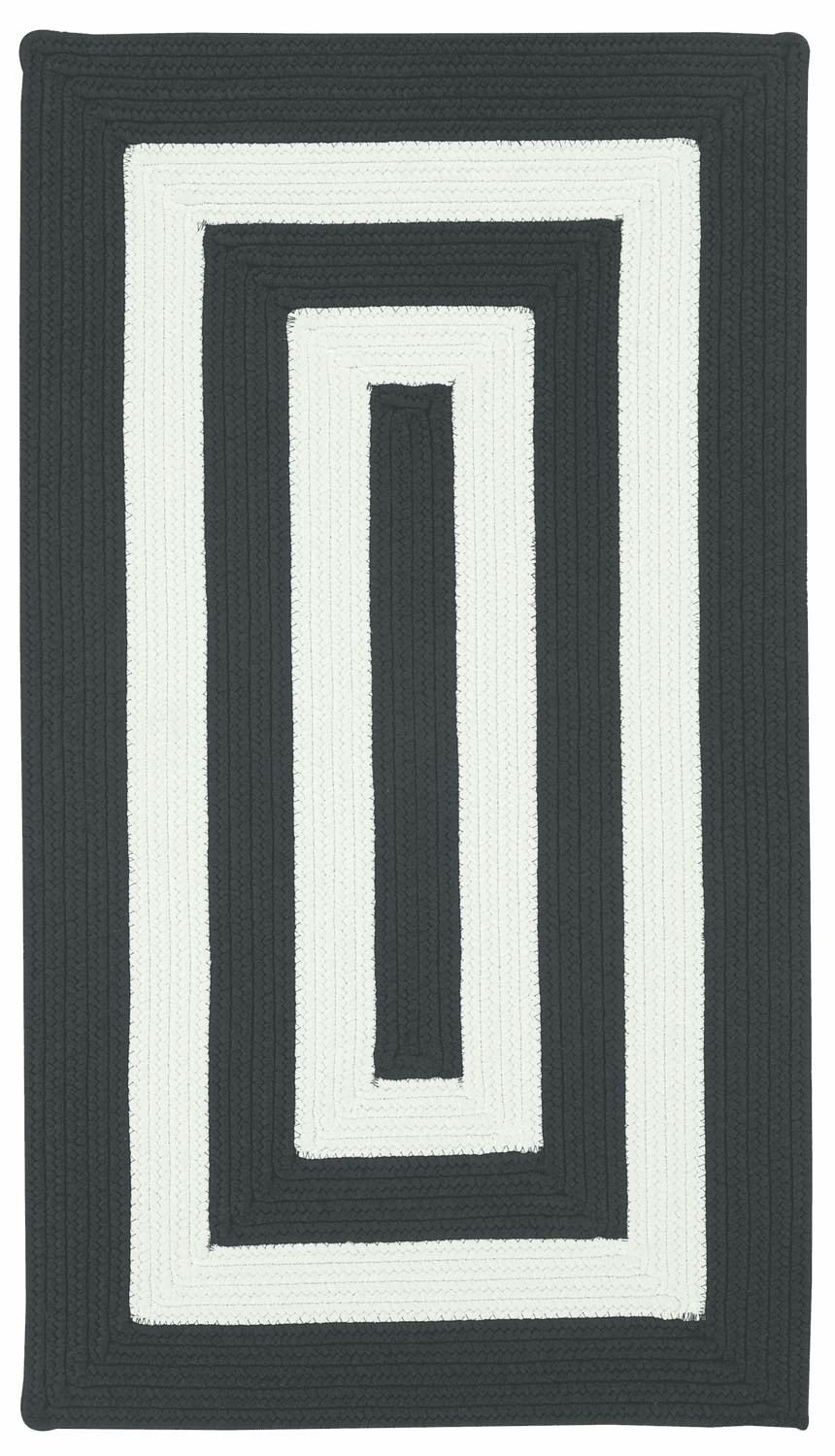 Hand-Braided Black and White Rug