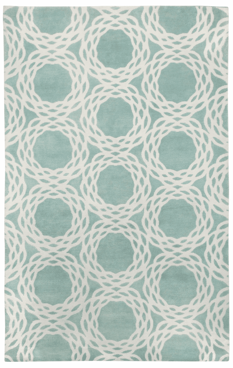 Hand Knotted Aquamarine Cream Rug