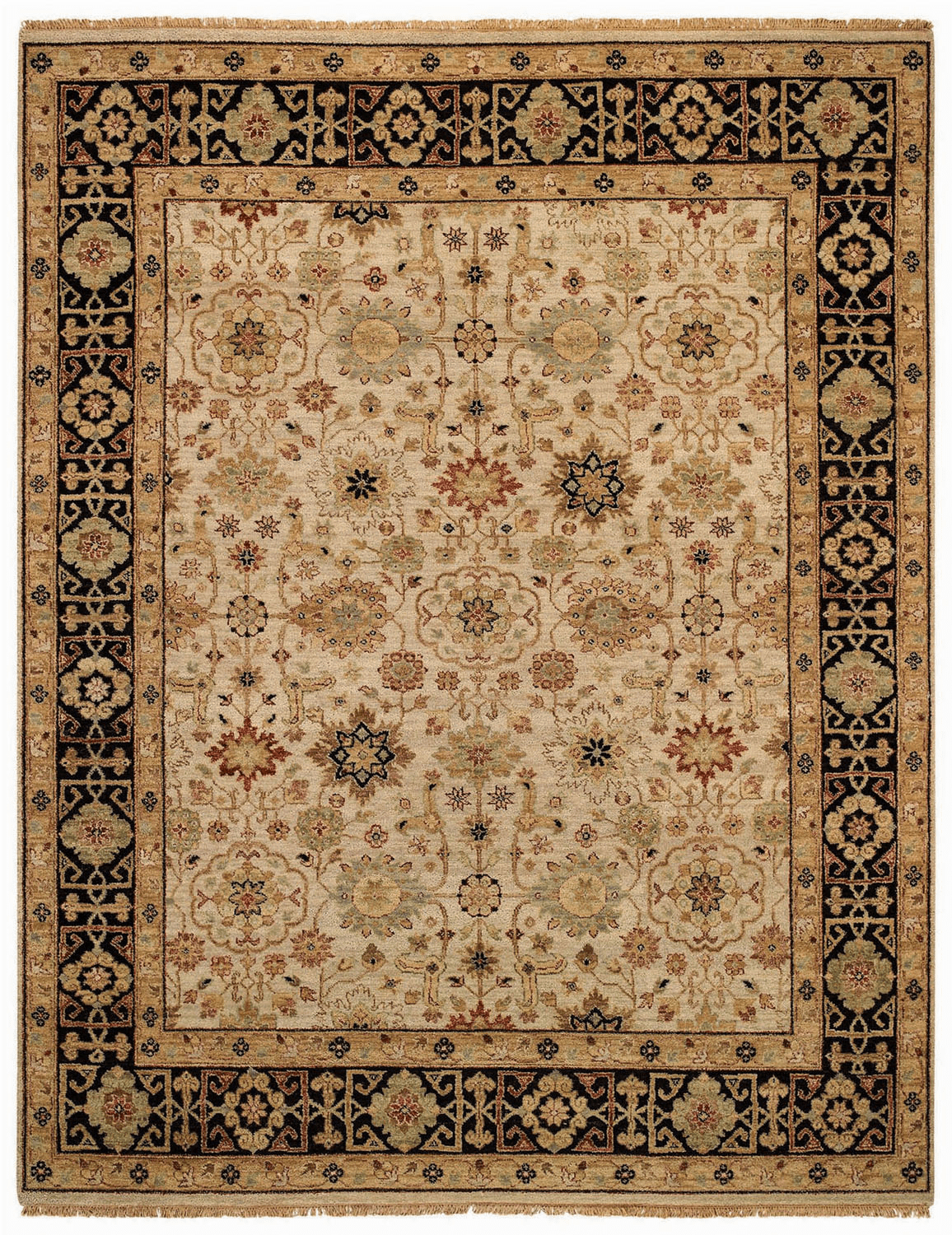 Hand Knotted Beige and Ebony Rug