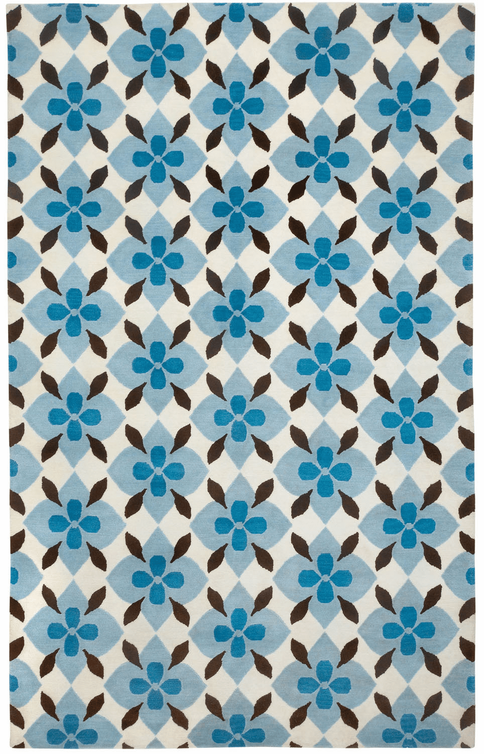 Hand Knotted Bright Blue Chestnut Rug