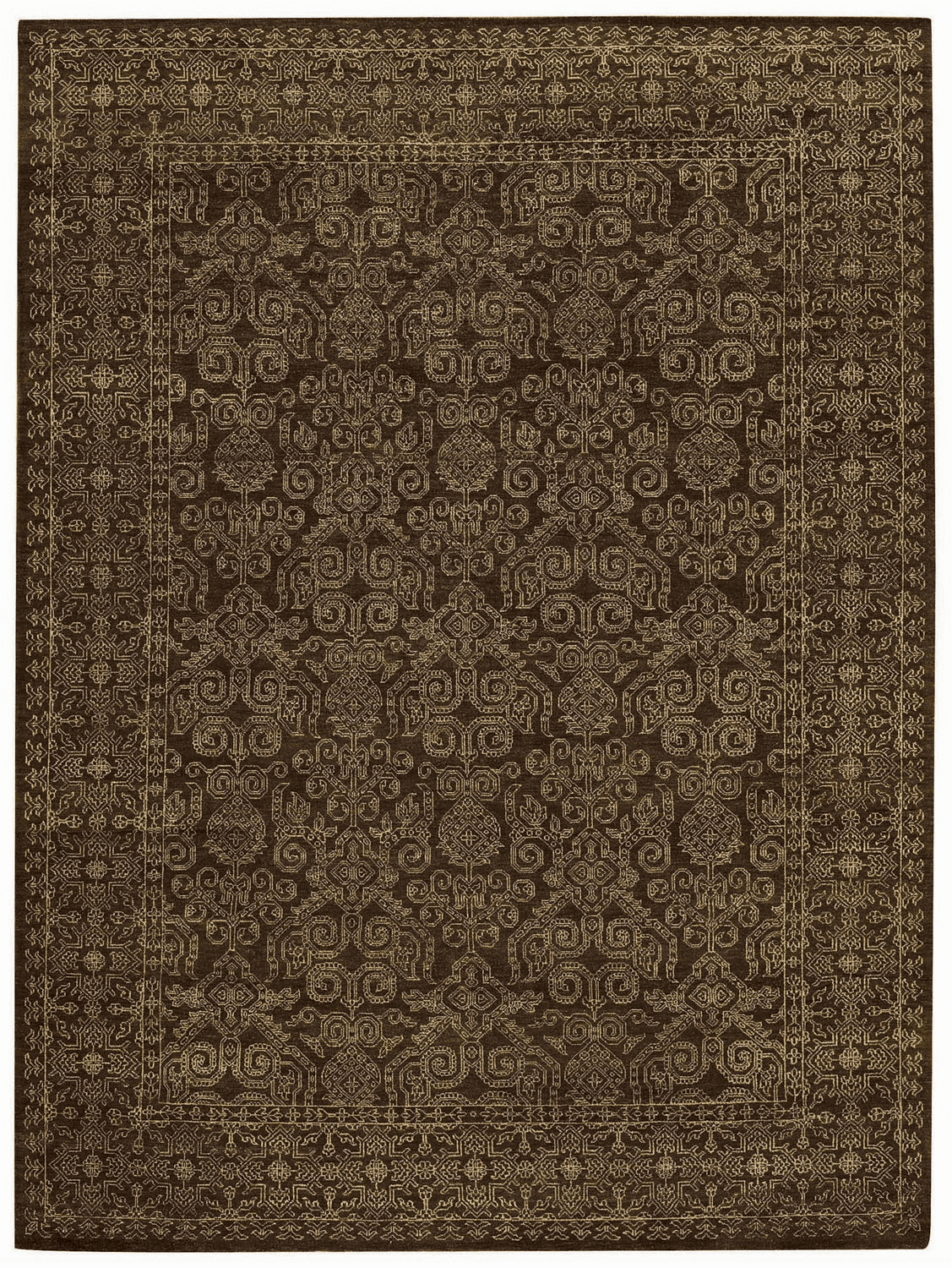 Hand Knotted Brown Rug