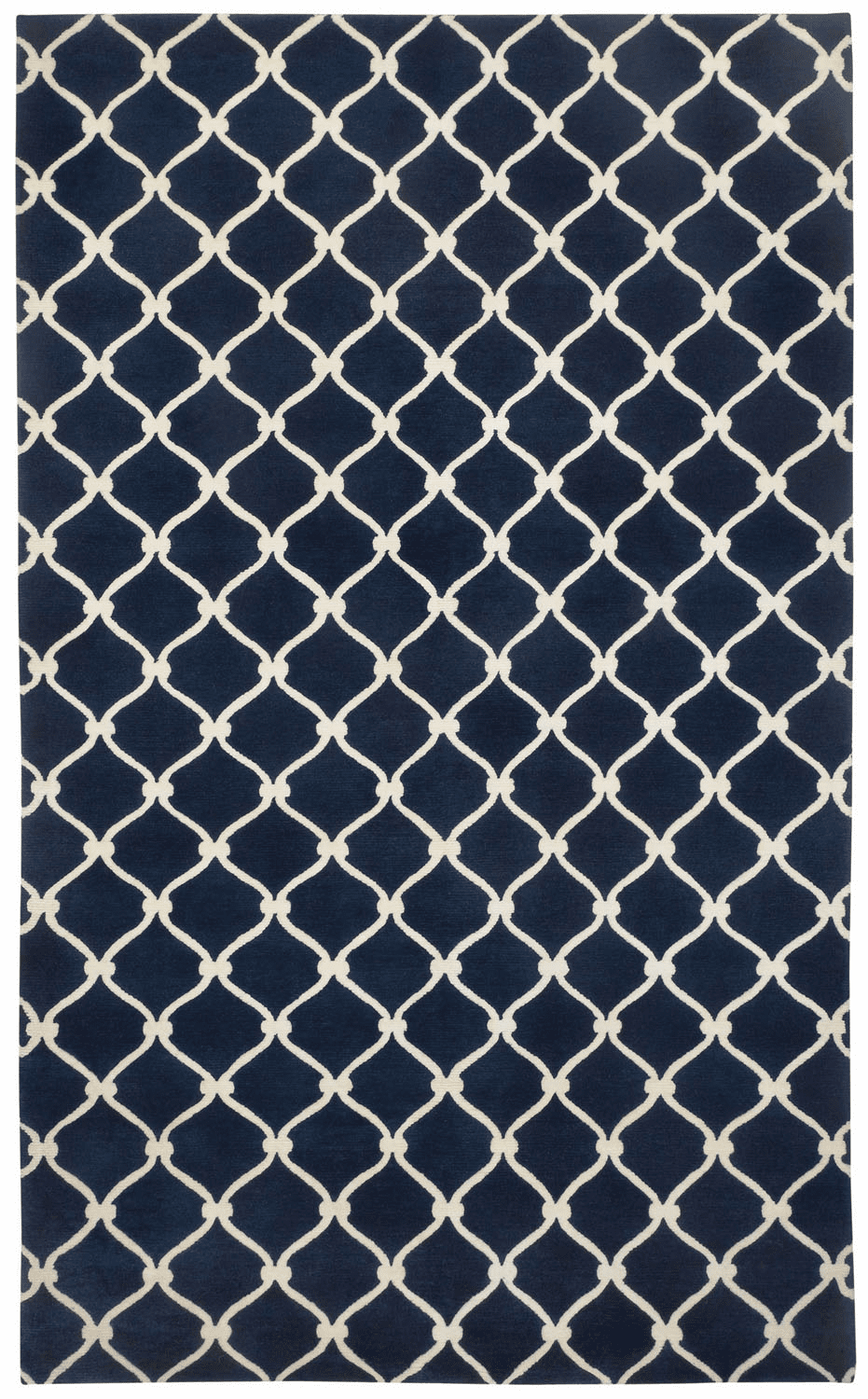 Hand Knotted Dark Blue Cream Rug