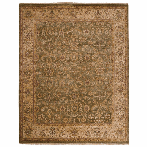 Hand Knotted Green and Beige Rug