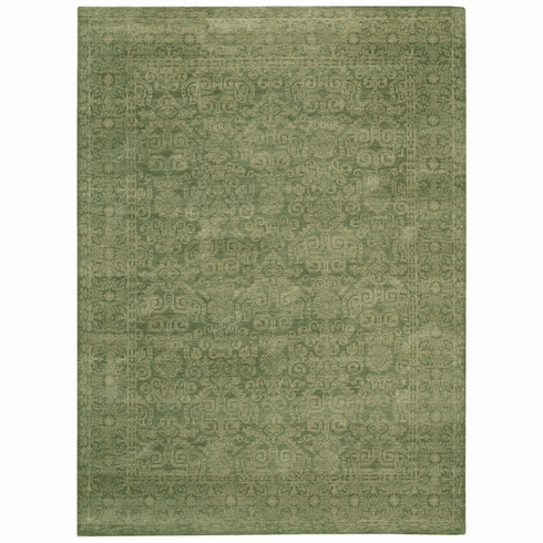 Hand Knotted Green Jade Rug