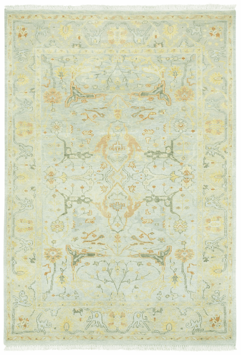 Hand Knotted Light Green Rug