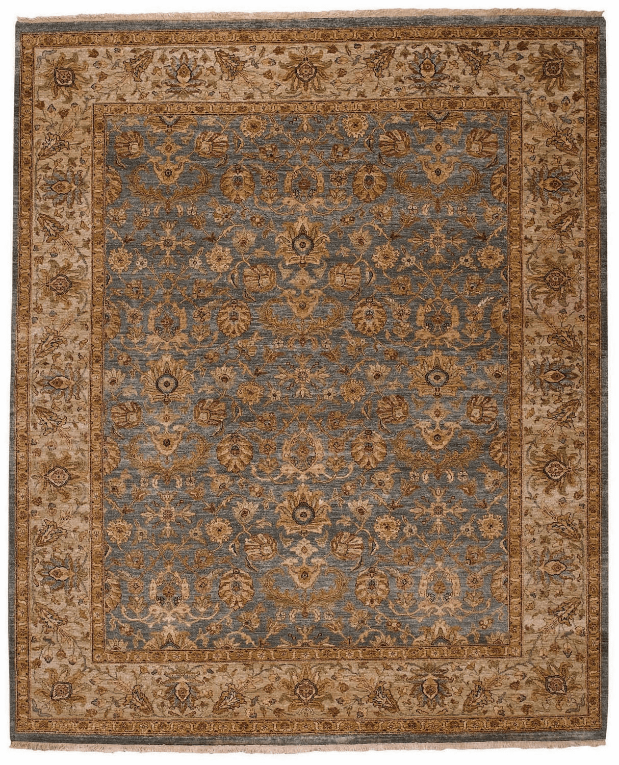 Hand Knotted Medium Blue and Beige Rug