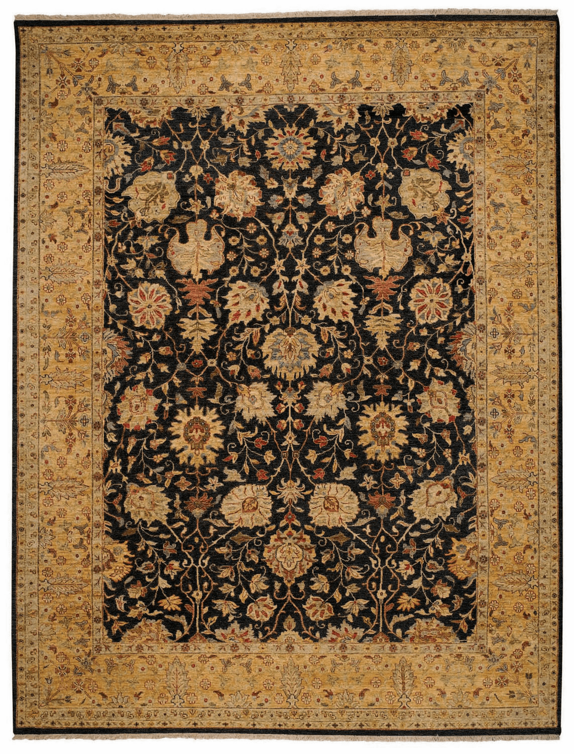 Hand Knotted Onxy and Gold Rug