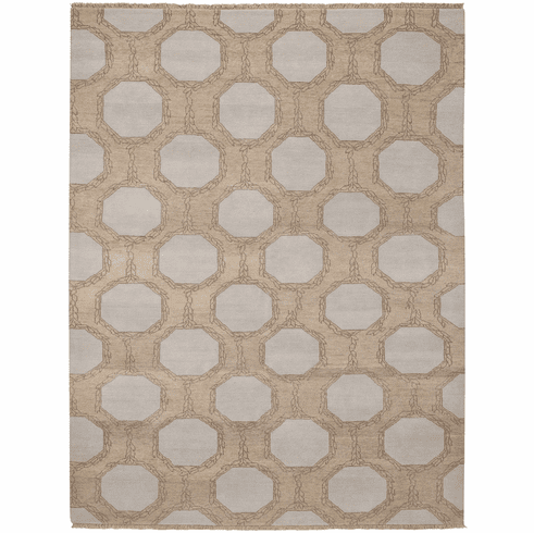 Hand Knotted Tan Rug