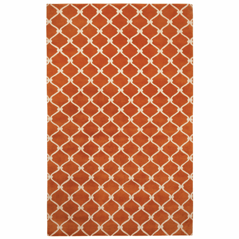 Hand Knotted Tangerine Cream Rug