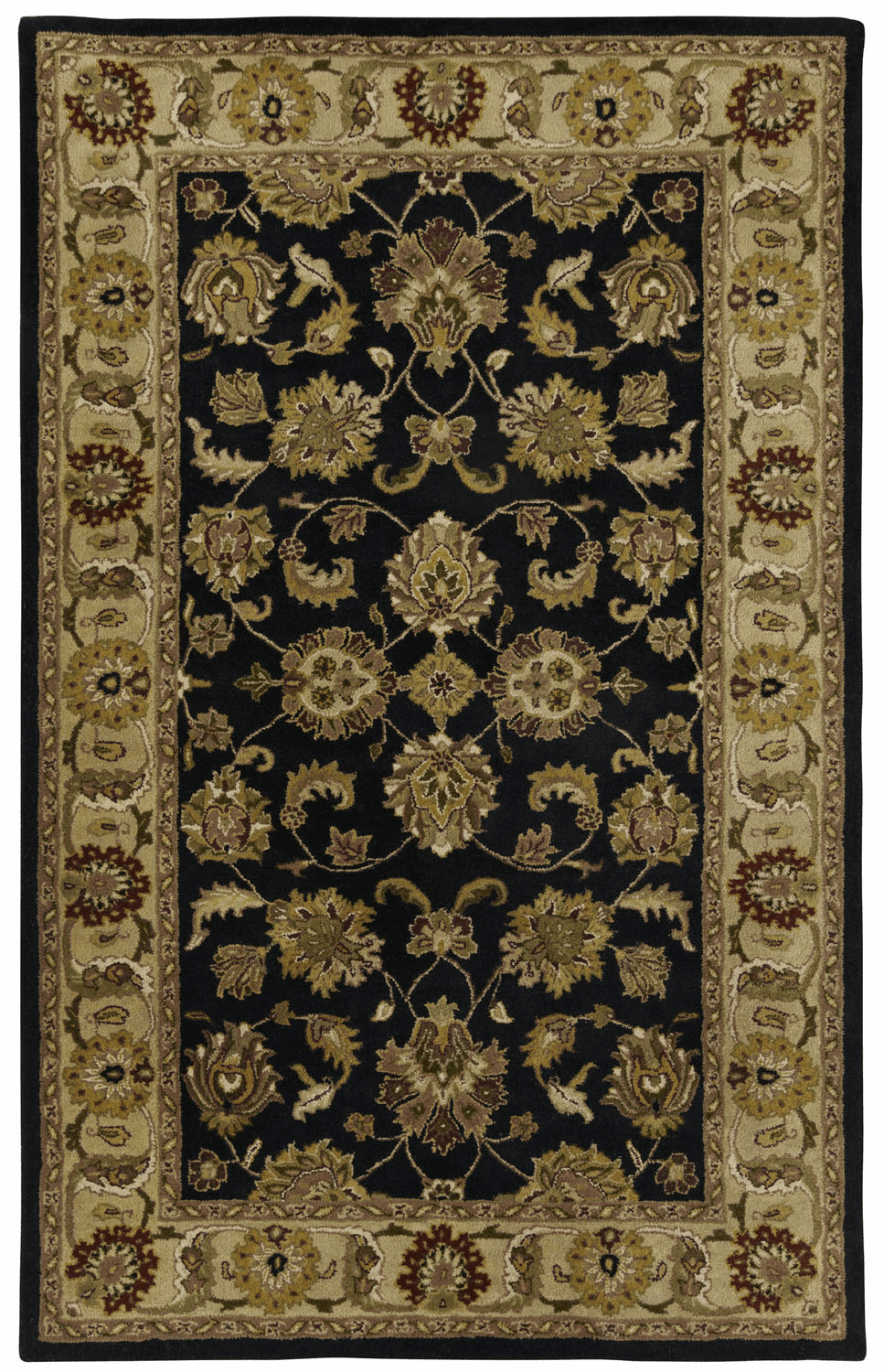 Hand Tufted Black Beige Rug