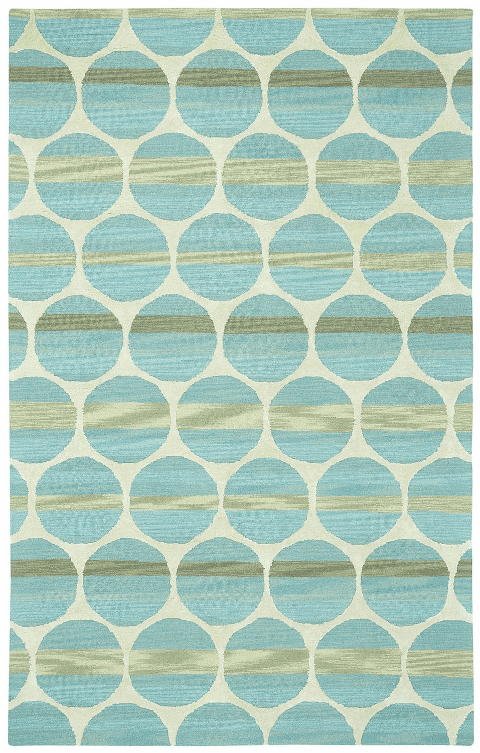 Hand Tufted Blue Light Beige Rug