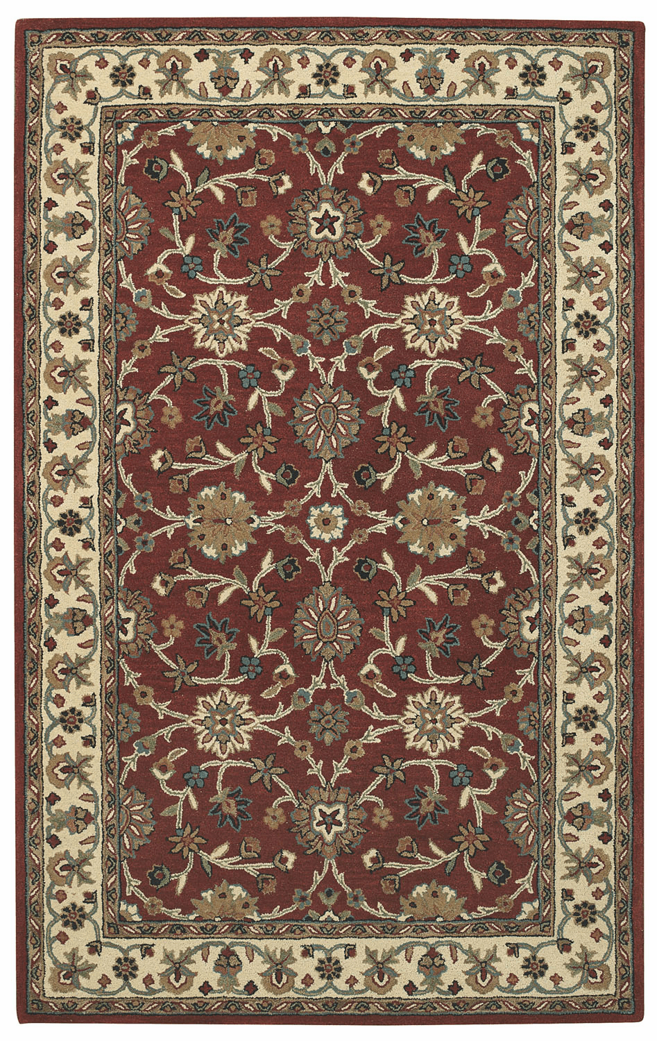 Hand Tufted Crimson Light Beige Rug