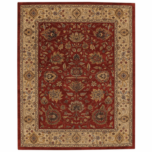 Hand Tufted Dark Red and Gold Rug
