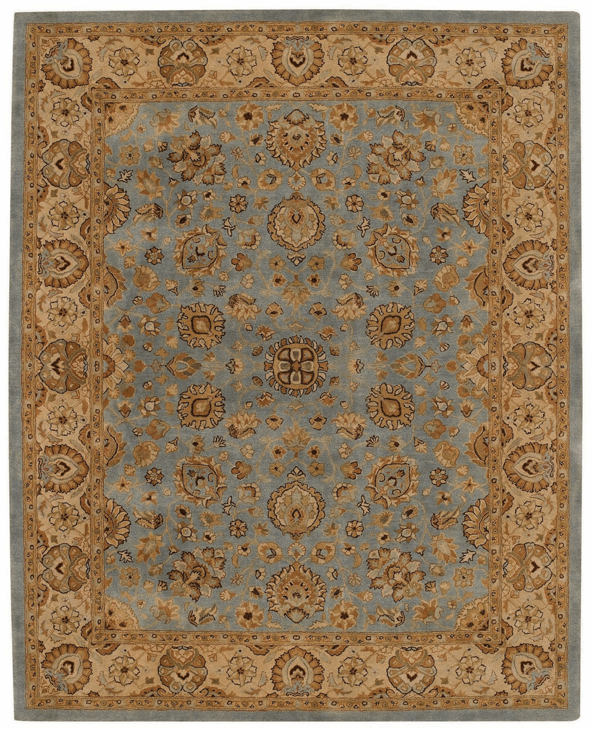 Hand Tufted Medium Blue and Gold Rug