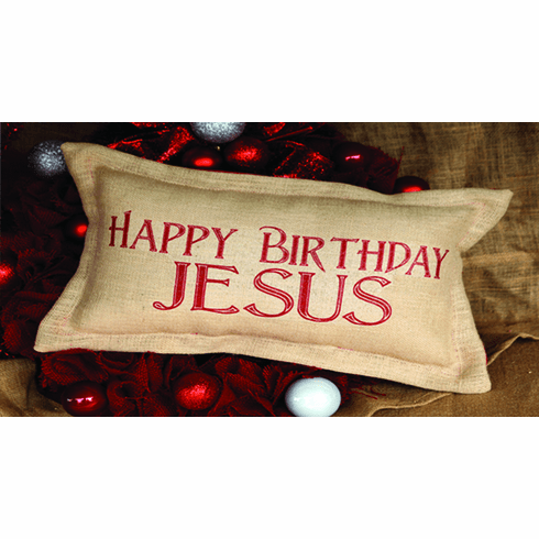 Happy Birthday Jesus Merry Christmas Pillow, 8in x 16in