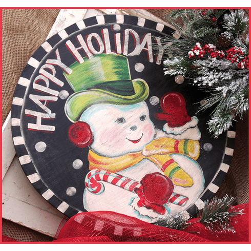 Happy Holiday Snowman Merry Christmas Sign, 24 inch round