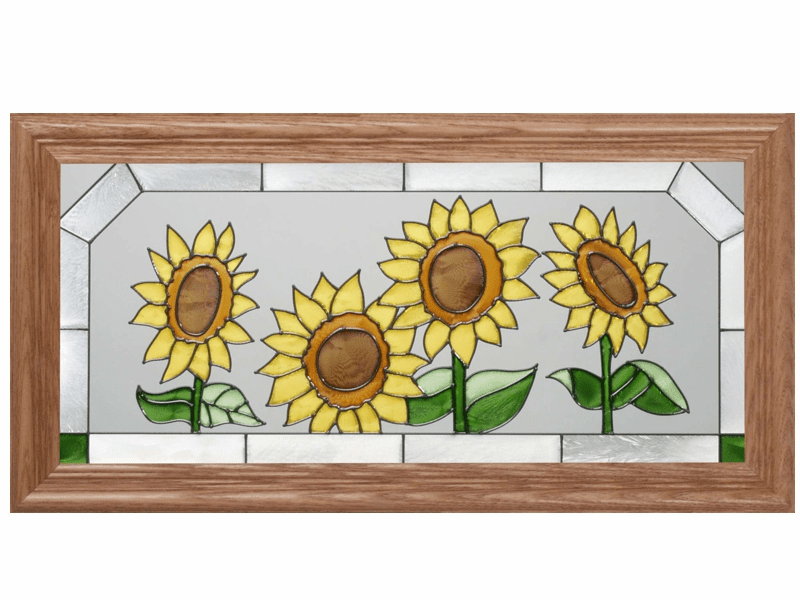 Happy Sunflowers I Stained Glass Art Glass