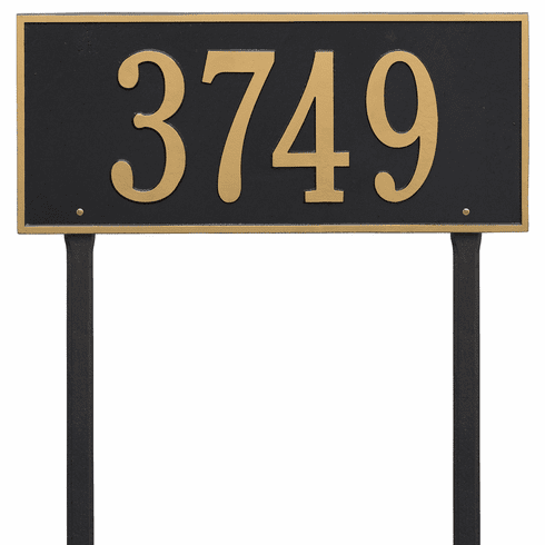 Hartford Estate Lawn One Line Plaque in Black and Gold