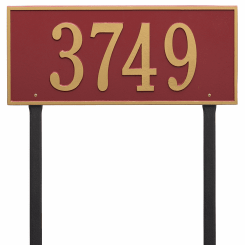Hartford Estate Lawn One Line Plaque in Red and Gold